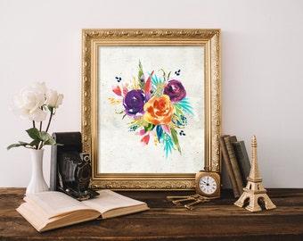 Bright Floral Printable Art Print, 5x7, 8x10, 11x14 Watercolor Floral Print, Flower Bouquet Print, Instant Download, Paper Canoe