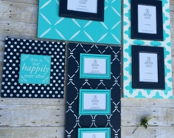 Sea Glass Collection: 4 piece wood picture frame gallery wall grouping. Unique magnetic frames and plaques. Turquoise/Navy Beach Wall Decor