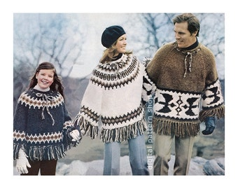 Knit Poncho Pattern Vintage 1970s Pullover Poncho Pattern Mens Womens Childs Poncho Raglan Sleeve PDF Instant Download K64