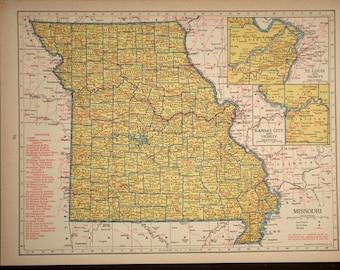 Missouri Map Missouri Railroad Vintage 1940s