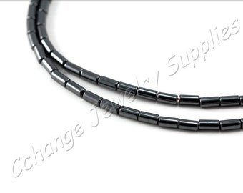 Barrel Tube Hematite, (4mm x 2mm) Barrel Hematite Beads, 1 Strand (95 pcs) Black Hematite Beads, Natural Hematite Beads / HBY-009