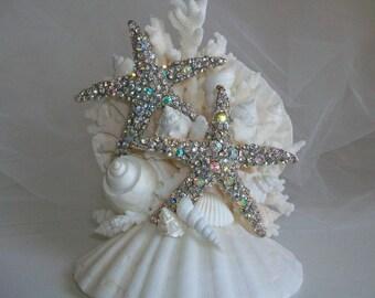 Beach Theme Wedding Cake Topper, Jeweled Starfish Seashell Coral Cake Topper, Starfish Seashell Decor, Beach Party Starfish Cake Topper