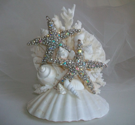 beach theme wedding cake topper jeweled starfish seashell. Black Bedroom Furniture Sets. Home Design Ideas