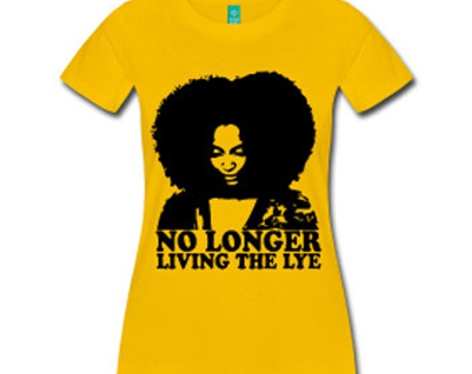 No Longer Living the Lye Women's Natural Hair Fitted T-Shirt - Yellow
