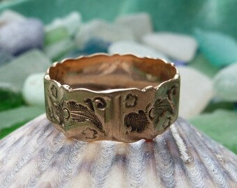 Antique Victorian 10K Rose Gold 10 Paneled Wedding Band Ring Floral Design 1894