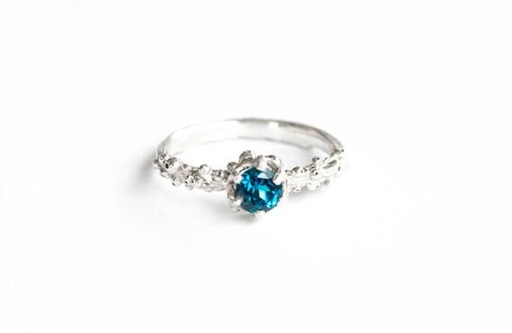 London blue topaz barnacle ring, twig engagement ring, 5mm london blue nature engagement ring