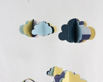 mobile nuages 3d guirlande nuages assortie modele unique. Black Bedroom Furniture Sets. Home Design Ideas