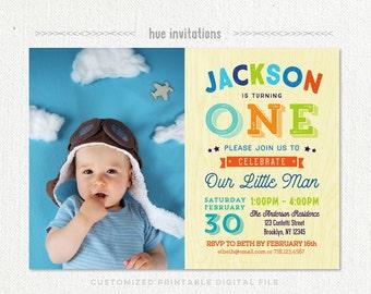 boys 1st birthday photo invitation, first birthday invite party printable one invitation, litte man baby boy lime green navy blue orange