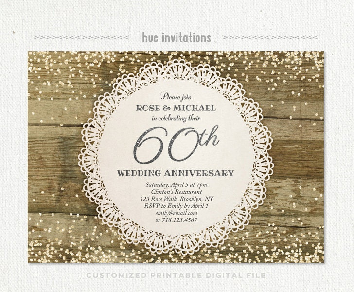 Surprise Wedding Anniversary Invitations: 60th Wedding Anniversary Invitation Diamond Glitter Silver