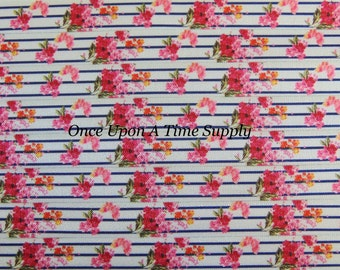 Pink Navy Vintage Inspired Striped Floral Print Fold Over Elastic for Baby Headbands - 5 Yards of 5/8 inch FOE - Flower Elastic By The Yard