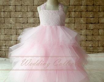 Light Pink Lace Flower Girl Dress Tutu Birthday Party Dress,Communication Dress