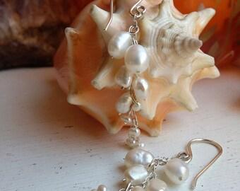 Sterling Silver Cream Fresh Water Pearl Cluster Drop Dangle Earrings