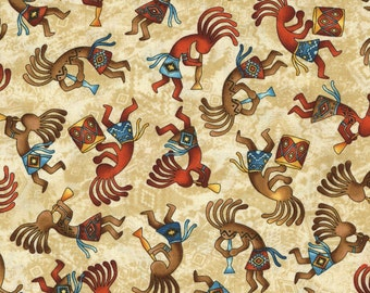 Tossed Kokopelli Fabric Fat Quarter, Third Yard, Half Yard, or By The Yard; C5038; Timeless Treasures; Southwest; West Collection