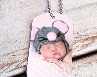 PHOTO NECKLACE - Photo Pendant -  Photo Dog Tag- Gift for new Daddy - custom dog tag - military dog tag- custom photo dog tag necklace