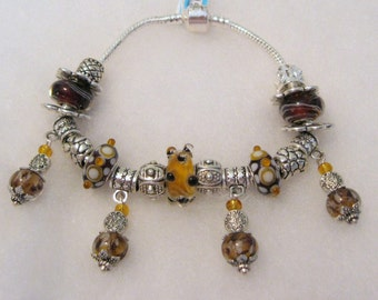 484 - CLEARANCE - Gold and Brown Bracelet