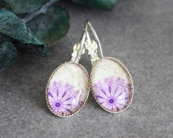 Purple Earrings, Purple Floral Earrings, Purple Flower Earrings, Purple Dangle Earrings, Beige Earrings, Tan Earrings, Off White Earrings