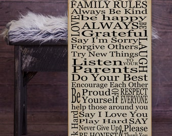"""Family Rules PERSONALIZED Subway Art Vinyl Wooden Sign 12"""" x 24"""". Great decor by HD Vinyl Designs"""