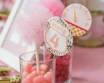 Pink Tulle Cupcake Pom- Cupcake pom- Pom pom- Tulle pom- Valentine's Day- Party decor- Cupcake topper- Mother's Day party