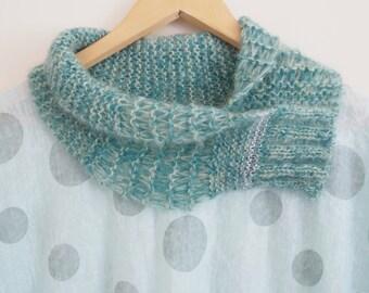 Knitted scarf, Ladies mohair silk scarf, Ladies green scarf, Womens green scarf, Knit scarf, Green knit scarf, Short knit scarf, Scarf  154