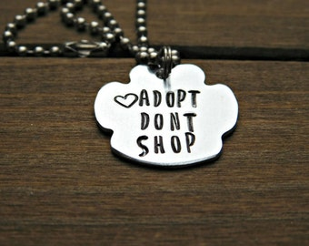 Adopt Dont Shop Necklace Pawprint Animal Rescue Lover Gift Custom Dog Cat Pet Name Memorial Jewelry Customized Personalized Stamped Word