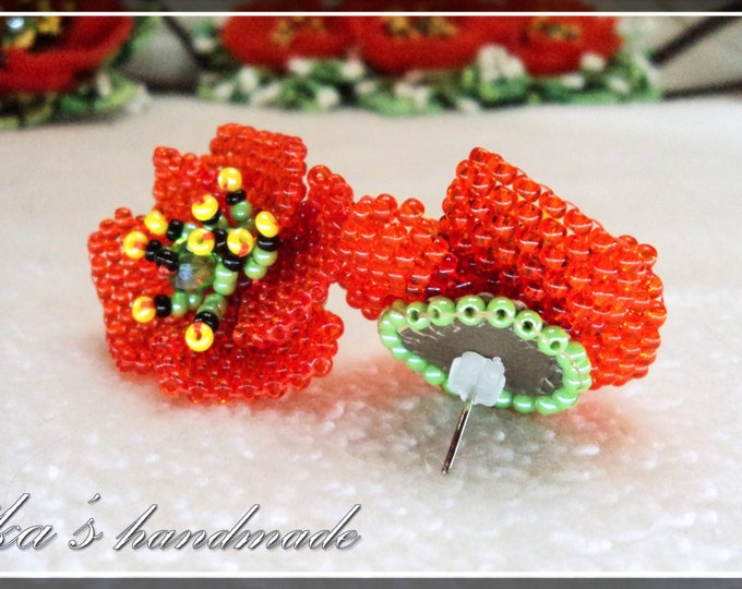 Seed beads stud earrings with poppies, red beaded Ukrainian poppies, ethnic jewelry gift idea, tiny flowers, artificial poppy flower