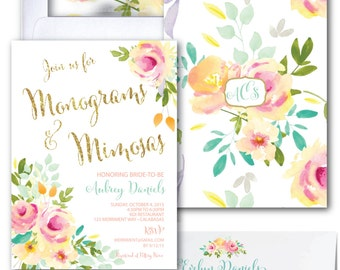 Monograms and Mimosas Invitation//Watercolor //Roses /Peonies/Peony/Bridal Shower Invitation/Pink/Gold Glitter/Mint/Yellow/MALIBU COLLECTION