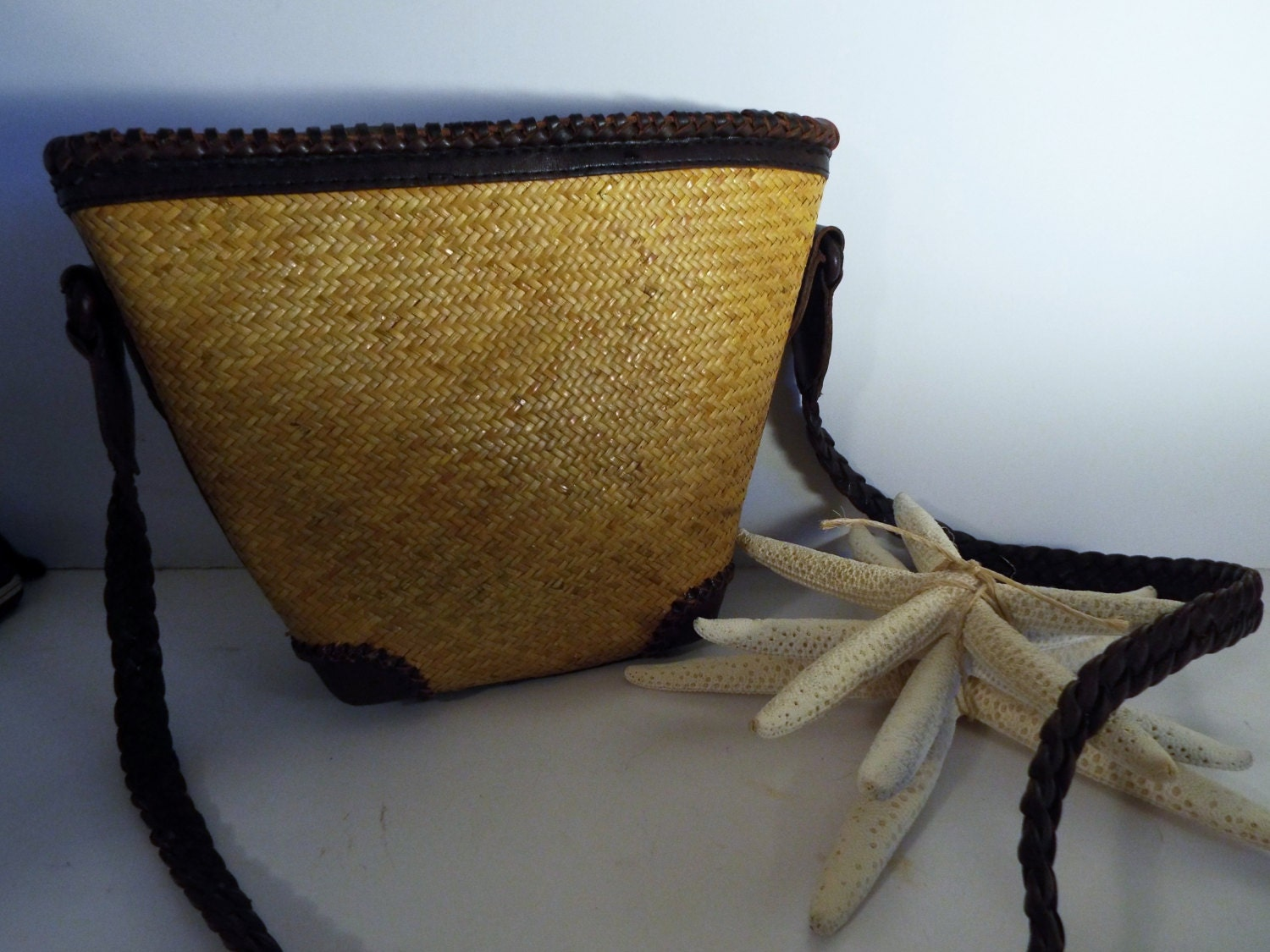 straw leather crossbody bag vintage elliot lucca made in