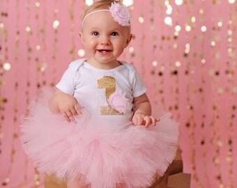 Pink Birthday Tutu - Baby Girl Birthday Outfit - 1st Bday Girl Outfit - Light Pink and Gold Bday Tutu - 1st Birthday Outfit - Girl 1st Bday