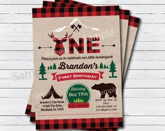Lumberjack invitation. Lumberjack first birthday party invitation. Buffalo red plaid woodland Camping deer bear Outdoor Invitation KB196