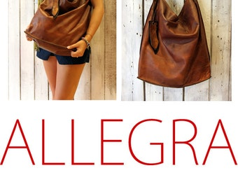 ALLEGRA BAG , Handmade vintage Italian Leather Tote Bag