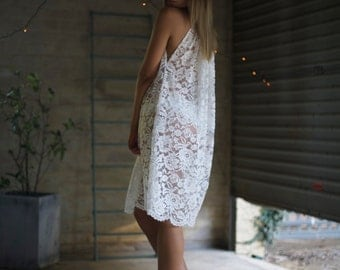 JASMINE Boho Floral White Bridal Lace Summer Beach Dress