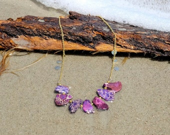Purple sea sediment and jasper necklace on gold plated chain