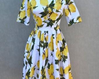 Lemon Print 1950's Inspired Dress (Black)