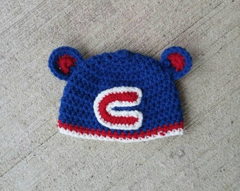 Chicago Cubs Crochet hat! Handmade Crochet Cubs hat complete with bear ears!