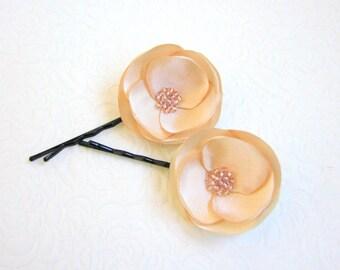 Champagne flowers , Bridal Flower pins, Romantic hair flowers, Bridal flowers, Champagne hair pin, Flower barettes, Champagne barrettes