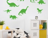 Dinosaur Wall Decal - Dinosaur Stickers - Dinosaur Bathroom Decals - Boy Bedroom Wall Decor - Dino Decals - Peel & Stick - Set of 10