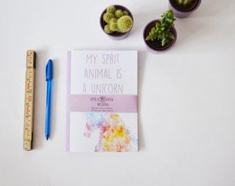 "A5 ""My Spirit Animal Is a Unicorn"" Watercolour Notebook"