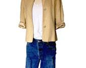 Vintage Linen Look Jacket, Spring Jacket, 3/4 Sleeve Boho Chic 90s Look Soft Dressing