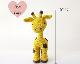 MADE TO ORDER: Amigurumi Giraffe Crochet Stuffed Toy