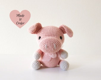 "MADE TO ORDER: Amigurumi ""This Little Piggy"" Crochet Stuffed Toy"