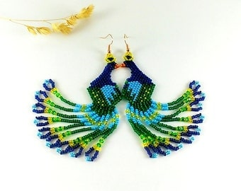 Peacock earrings Peacock wedding jewelry Bird earrings Blue earrings Peacock feather earrings Boho earrings Statement earrings Peafowl