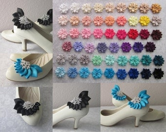 Wing Shaped Satin Rhinestone Shoe Clips, Spectacular, One-of-a-Kind, OOAK, Handmade, Wedding, Shoe Jewelry, Bridal, Bridesmaids, 53 Colors