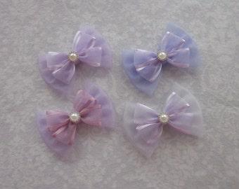 Lavender Lilac Pastel Purple Satin Organza Shimmer Tulle Sheer Bow, Wedding Hair Accessory, Flower Girl, Pearl Rhinestone Gold Silver