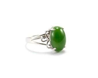 Sterling Silver Jade/ Silver Jade Ring/ Green Jade Ring/ 925 Sterling Silver/ Sterling Silver Ring