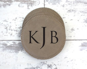 Coaster Set - Set of 6 Personalized Monogrammed Leather Coaster Set With Holder -  Anniversary Gift, Wedding Gift, Gift