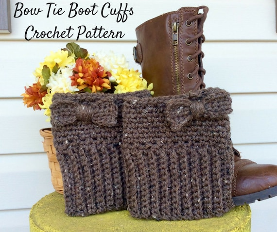 Beginner Crochet Boot Cuff Pattern : Easy Brown Boot Cuff Crochet Pattern Beginners Boot Cuff