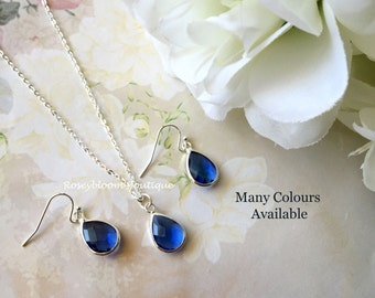 Cobalt Blue Earrings-Cobalt Blue Necklace-Blue earrings-Bridesmaid Earrings-Bridesmaid Necklace-Cobalt Blue Drop Earrings And Necklace
