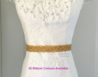 Gold Sash-Gold Rhinestone Sash-Gold Wedding Sash-Rhinestone Belt-Gold Beaded Sash-Crystal Bride Belt-Loops Gold Beaded Rhinestone Sash