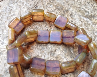 Czech Artisan 11 mm Square Milky Brown Opal Picasso Beads - 15 Beads