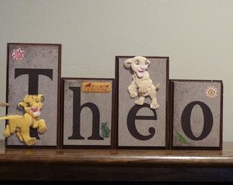 Decor The Lion King Custom Wooden Block Letters Disney Decor Baby Nursery Name Sign Boy Bedroom Baby Name Blocks Wood Decor Boy Gift Idea